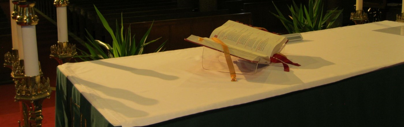 open bible on altar in cathedral